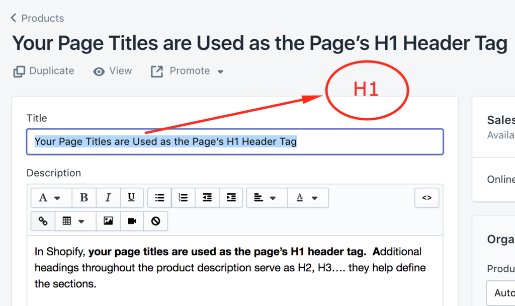 Optimize H1 and H2 Header tags for your Shopify store