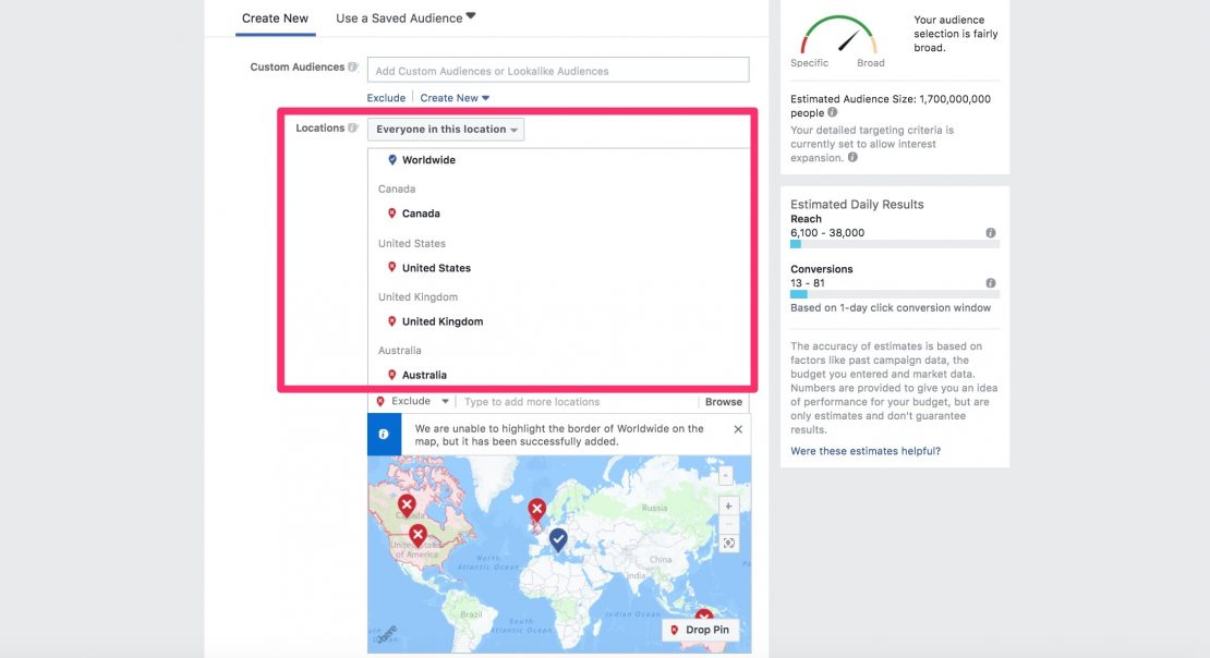 Facebook ads let's you target users by location