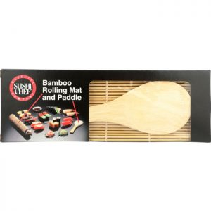 SUSHI CHEF Bamboo Rolling Mat and Paddle Set