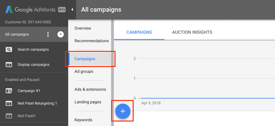 Use Google adwords to create campaigns
