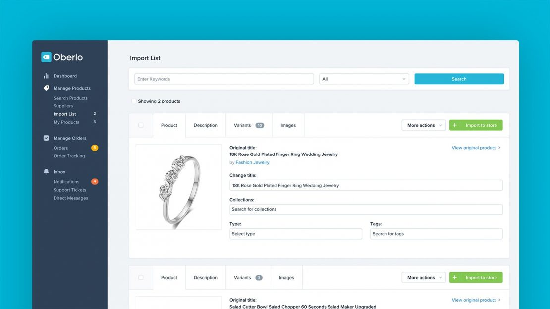 Use the Oberlo app to optimize your Shopify dropshipping store