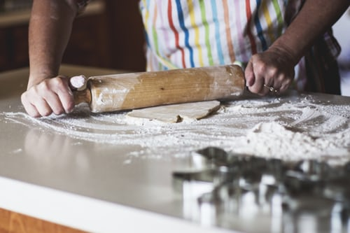 rolling dough with flour