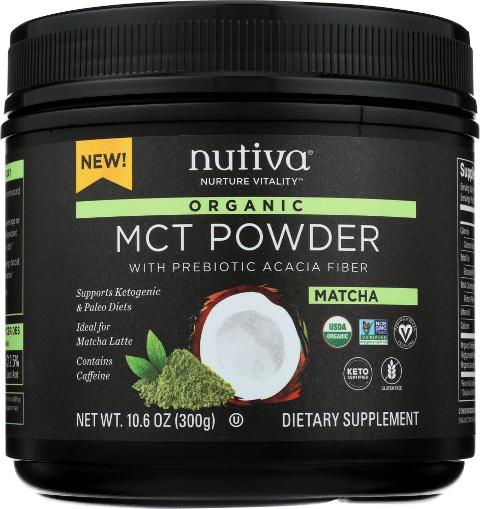 Matcha green tea powder combined with coconut MCT oil