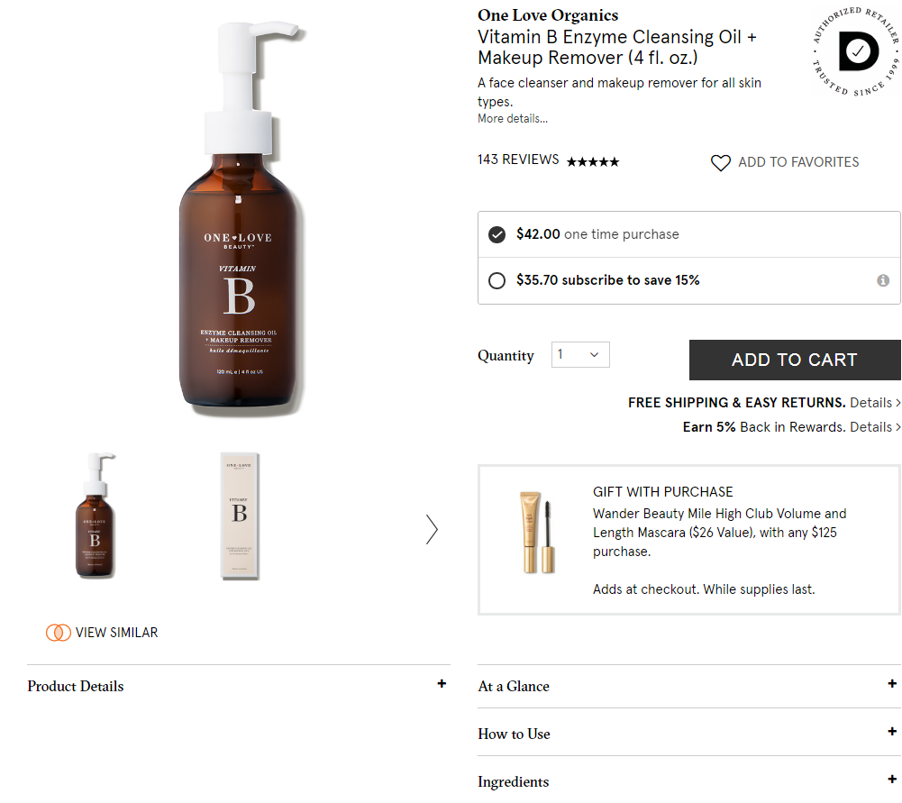 Product description template for beauty and personal care
