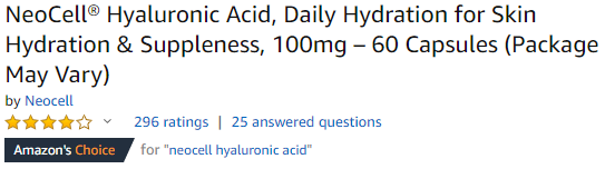 NeoCell Hyaluronic Acid is Amazon's Choice