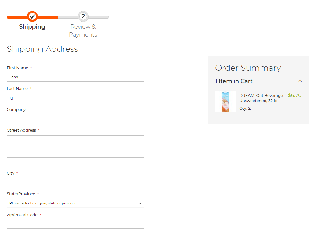Use your customer's address for the final step in the order fulfillment.