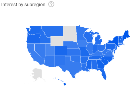 The Google search interest for natural soap is high all over the USA.