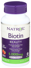NATROL: Biotin Strawberry Flavor 5000 mcg, 90 Tablets