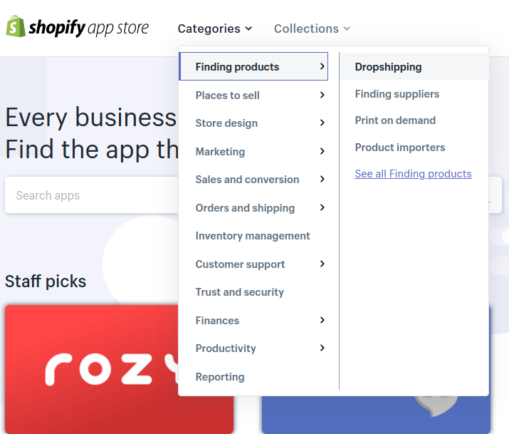 Go to the Shopify App Store to find dropshipping suppliers.