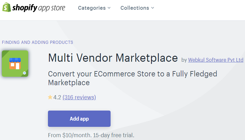 Use the Shopify marketplace to find apps.