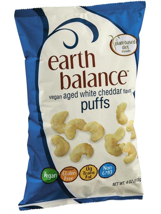 wholesale vegan food: Earth Balance vegan white cheddar puffs