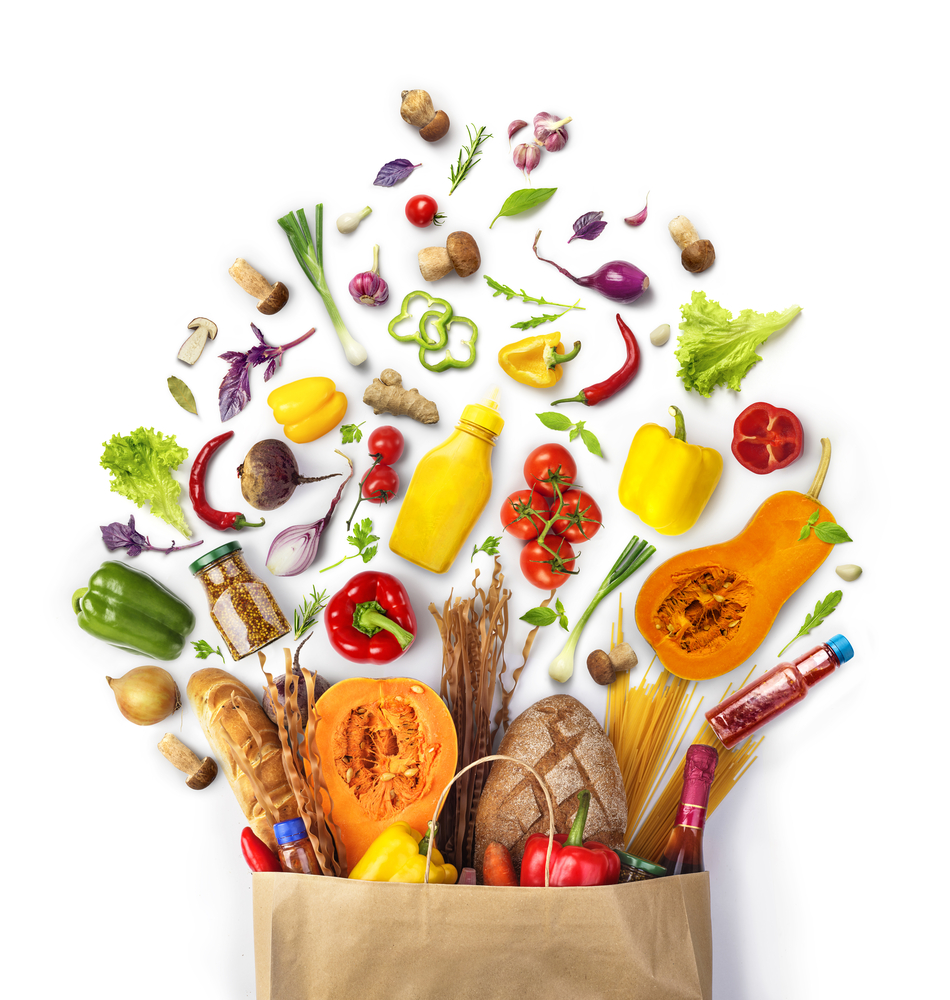 plant based foods in a grocery bag. Dropshipping eco-friendly products
