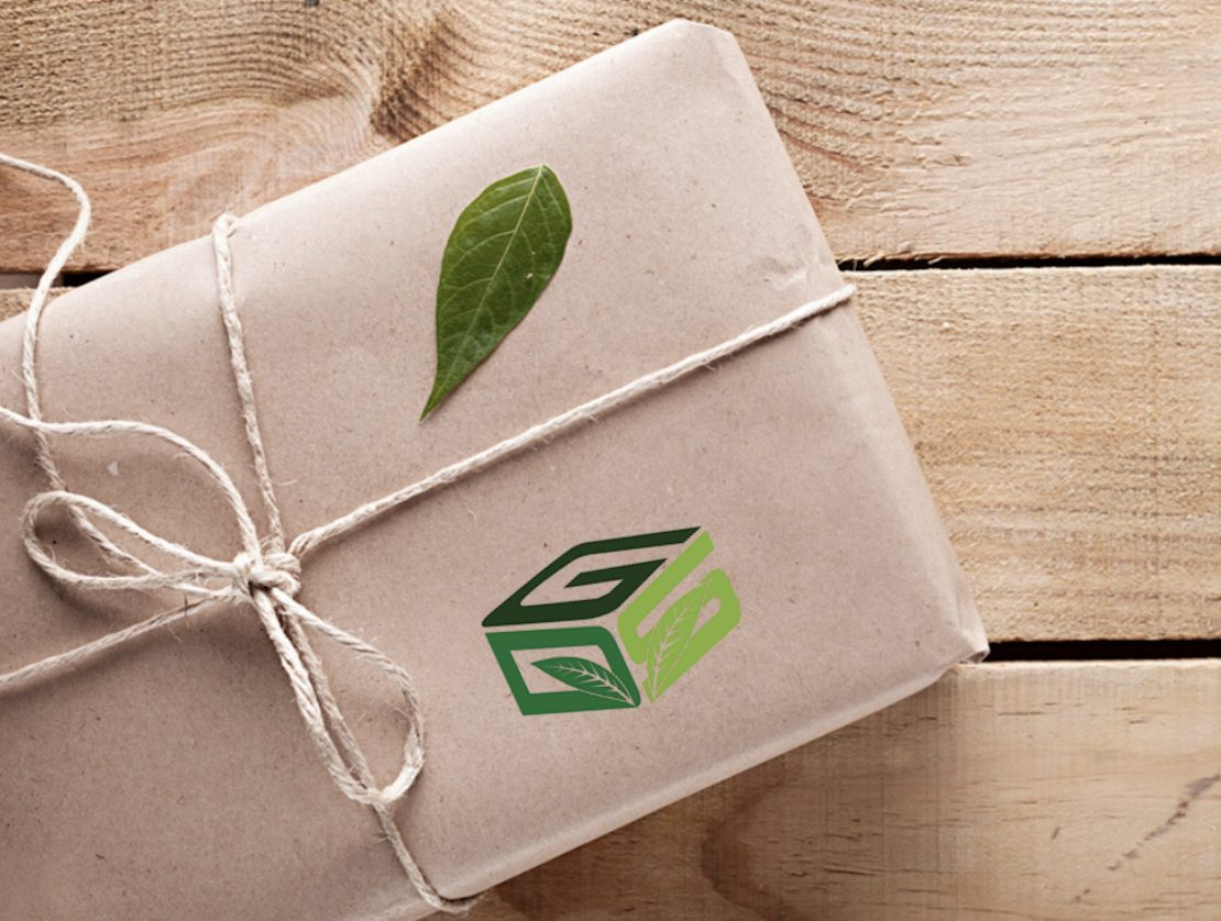 Brown paper package with string and GreenDropShip logo