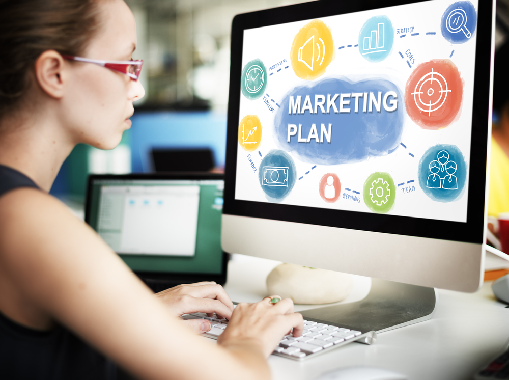 woman at laptop with marketing plan. Promote your online dropshipping food business.