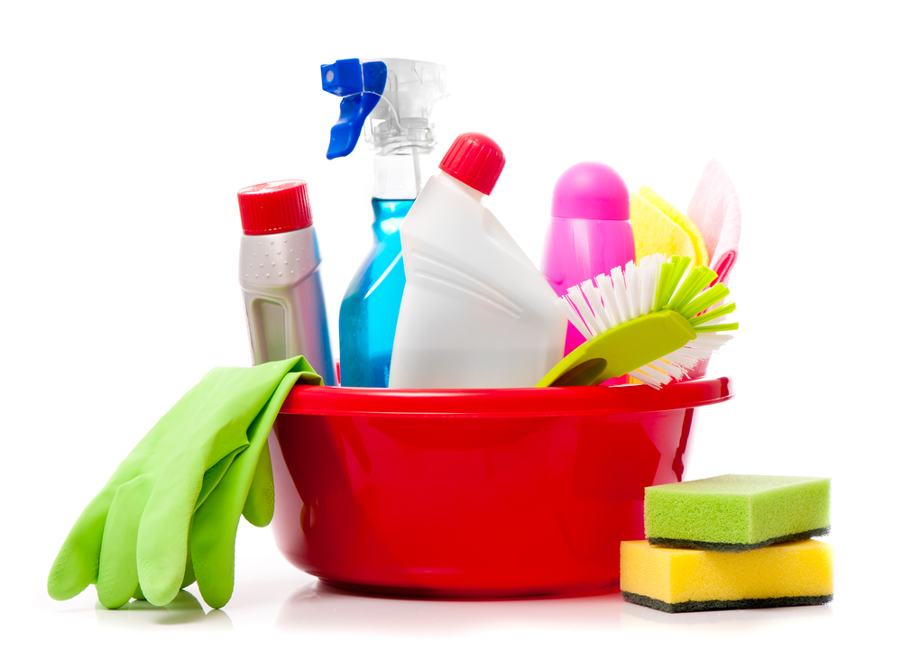 Organic cleaning products for dropshipping. Bucket of cleaners with sponges and rubber gloves.