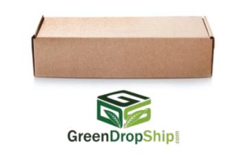 Brown dropshipping box with GreenDropShip logo underneath
