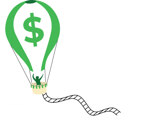 Hot air balloon with dollar sign carrying person among the clouds
