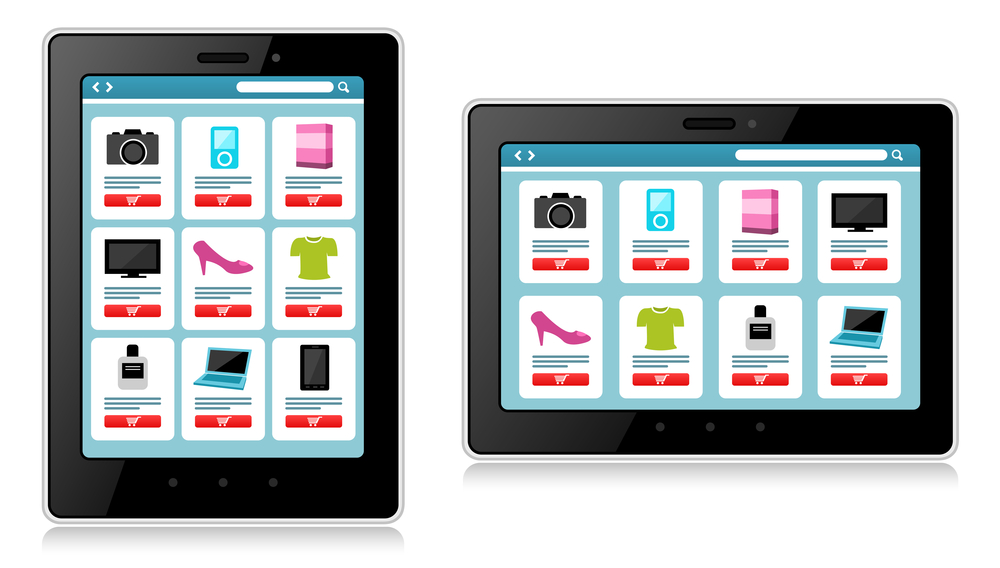 tablet and mobile phone showing products for sale.