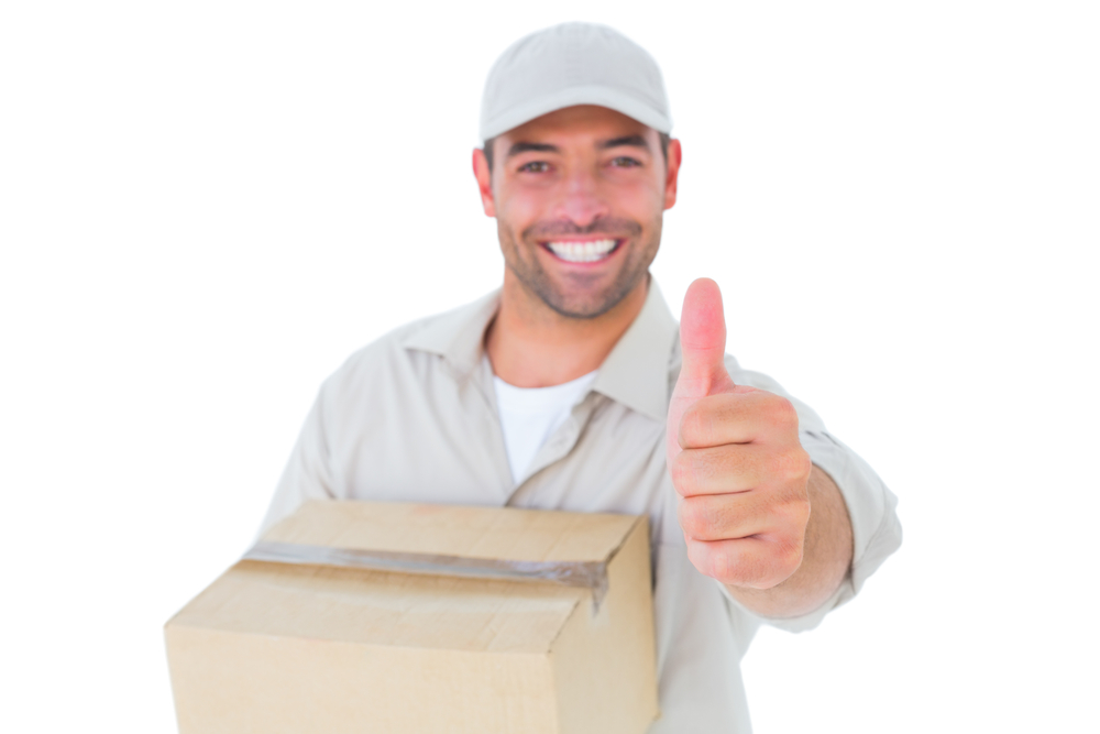 Happy dropshipping delivery man giving a thumbs up