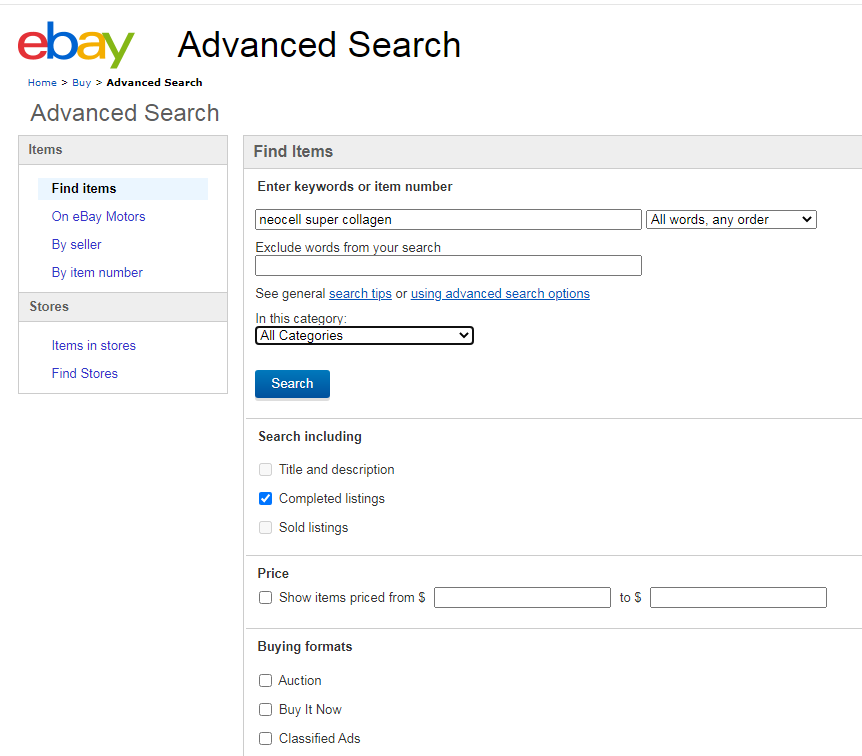 Use eBay Advanced Search to find items to dropship.