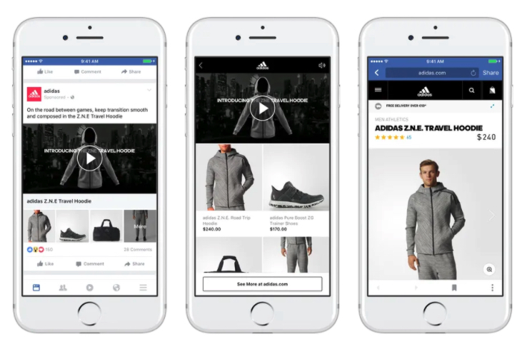 Facebook video ads for dropshipping 3 examples of ads on 3 different mobile devices