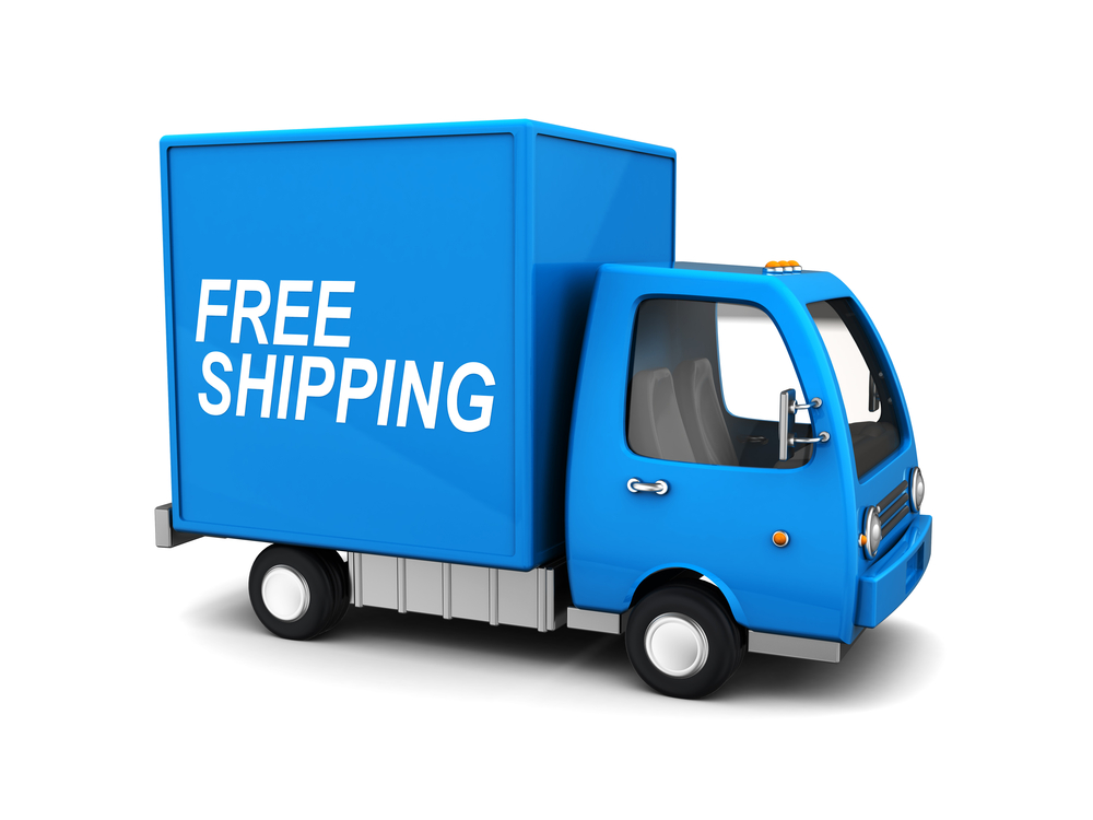 """Deliver truck with the words """"free shipping"""" on the side"""