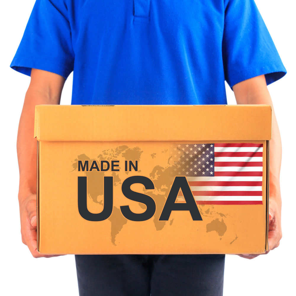 Made in USA package being delivered