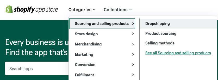 Screen shot of Shopify Marketplace for apps