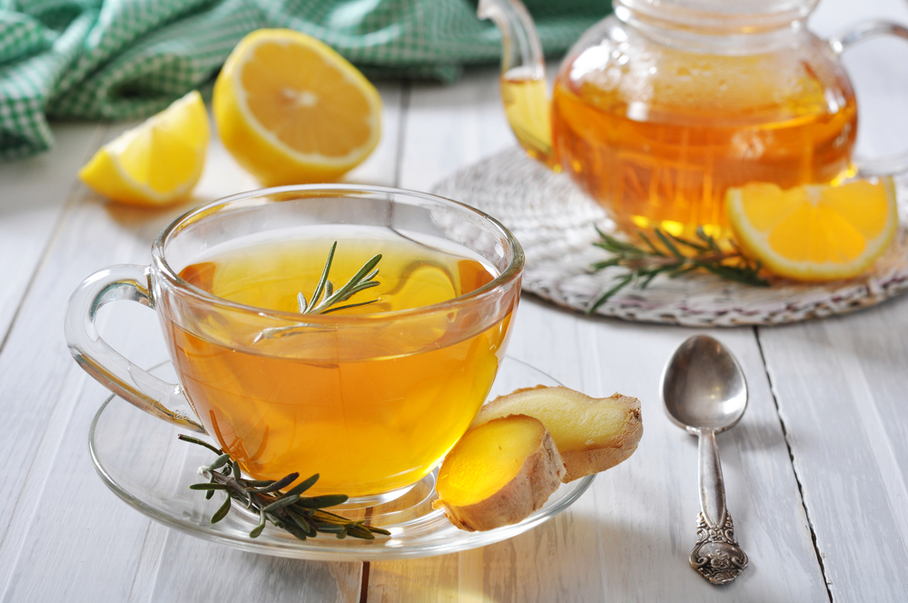 wholesale tea suppliers. Image of a glass tea pot and glass with herbal tea and lemons.