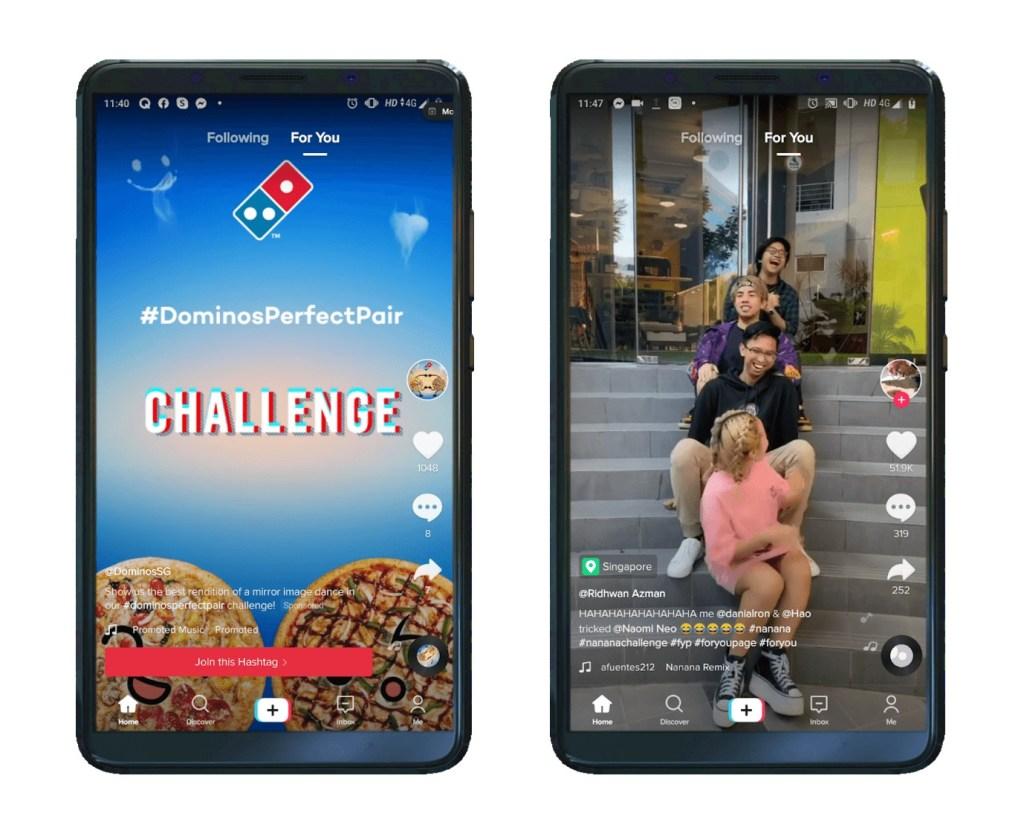 TikTok video ads showing on 2 smartphones